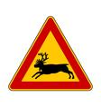 Reindeer warning sign vector image vector image