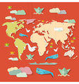 Retro Paper World Map on Red Background vector image vector image