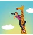 Safari Photographer with a giraffe vector image