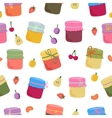 Seamless pattern with home-made jams and fruits vector image vector image