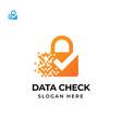 security tech logo template with check mark design vector image