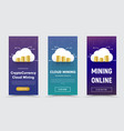set of vertical web banners with a cloud and vector image