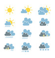 set of weather forecast icon in simple flat style vector image