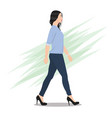side view a beautiful woman walking vector image vector image