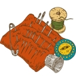 Spool of Thread Button Thimble Needles and vector image vector image