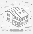 thin line icon isometric suburban american house vector image vector image