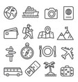 travel and tourism line icon set on white vector image vector image