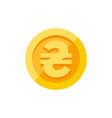 ukrainian hryvnia symbol on gold coin flat style vector image