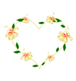 Yellow Hibiscus Flowers in A Heart Shape vector image vector image