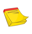 Yellow notebook icon in cartoon style vector image vector image