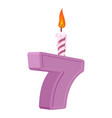 7 years birthday number with festive candle for vector image