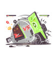 battle of smartphones vs vector image