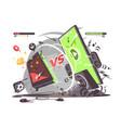 battle smartphones vs vector image