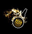 beer party splash of beer with bubbles on a black vector image vector image