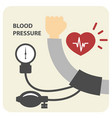 blood pressure measurement poster - hand and sphyg vector image