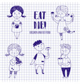 boys and girls with food on notebook paper vector image