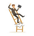 businessman or manager fall down of broken career vector image vector image