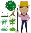 cartoon charecter farmer vector image vector image