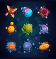 cartoon fantastic planets fantasy alien planet vector image vector image