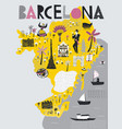 cartoon map barcelona spain print design vector image