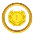 Champion gold medal icon vector image