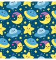 Children space pattern blue vector image vector image