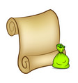 christmas paper scroll card with santa sack bag vector image