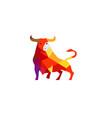 creative polygonal bull logo vector image