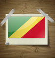 Flags Congo Republic at frame on wooden texture vector image