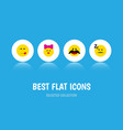 flat icon expression set of caress asleep vector image vector image