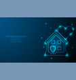 glowing stay at home on blue abstract background