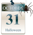 halloween calendar with spider vector image vector image