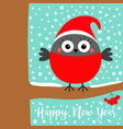 happy new year bullfinch winter bird on rowan vector image vector image