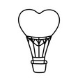 happy valentines day hot air balloon shaped heart vector image