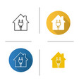 house with wire plug icon vector image vector image