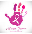imprint of pink hand with cancer ribbon inside vector image vector image