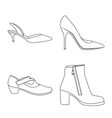 isolated object of footwear and woman symbol set vector image