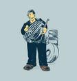 mechanic tireman hold tire cartoon concept vector image