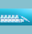 medical disposable syringe with needle and vials vector image