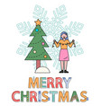 merry christmas woman decorating pine for xmas vector image