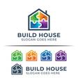 modern color logo puzzle building house symbol vector image