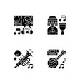 modern music genres variety black glyph icons set vector image