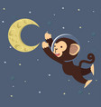 monkey astronaut with moon in space vector image vector image