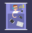 new technologies addiction young nerd sleeping vector image vector image