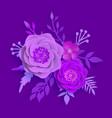 paper art summer flowers on a proton purple vector image