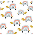 seamless pattern with cute rainbow turtles vector image