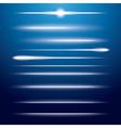 set neon lens flares on blue background vector image
