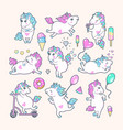 set of cute unicorns with rainbow mane vector image vector image
