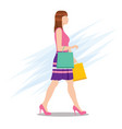 side view a woman walking with shopping bags vector image