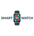 smart watch isolated on white logo stainless vector image vector image